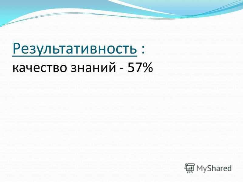 Результативность : качество знаний - 57%