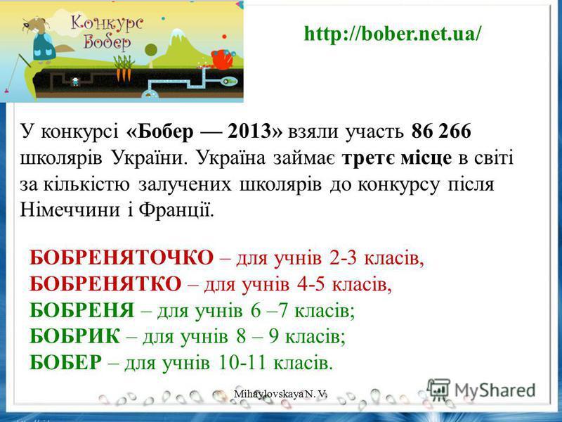 У конкурсі «Бобер 2013» взяли участь 86 266 школярів України. Україна займає третє місце в світі за кількістю залучених школярів до конкурсу після Німеччини і Франції. БОБРЕНЯТОЧКО – для учнів 2-3 класів, БОБРЕНЯТКО – для учнів 4-5 класів, БОБРЕНЯ –