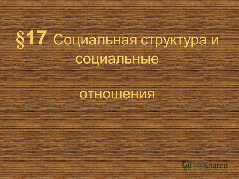 §17 Социальная структура и социальные отношения