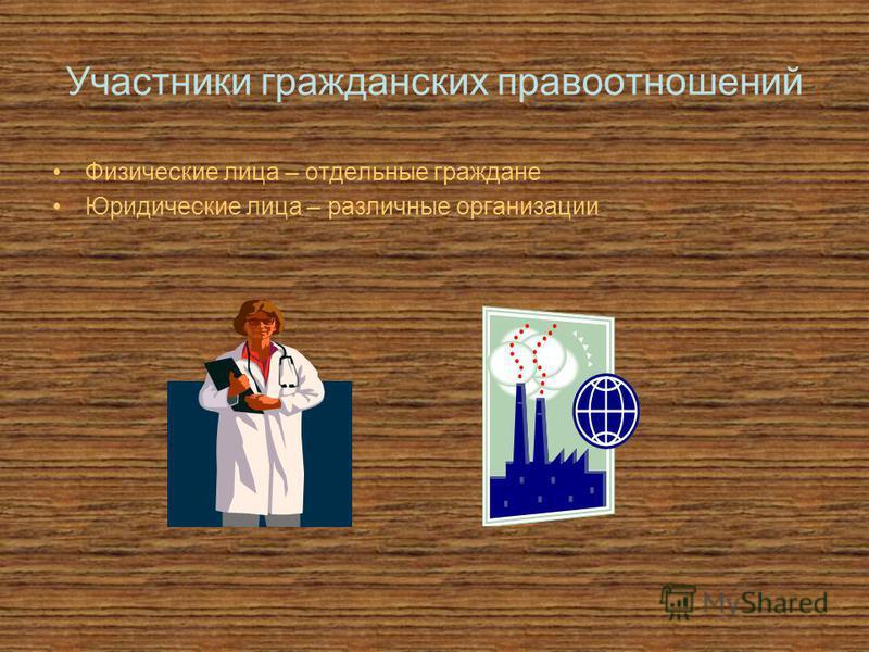 Участники гражданских правоотношений Физические лица – отдельные граждане Юридические лица – различные организации