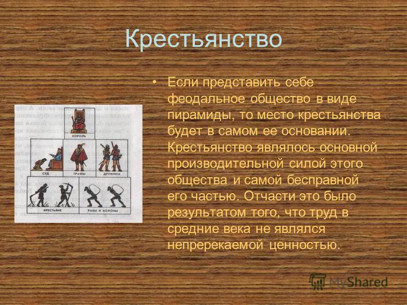 Крестьянство Если представить себе феодальное общество в виде пирамиды, то место крестьянства будет в самом ее основании. Крестьянство являлось основной производительной силой этого общества и самой бесправной его частью. Отчасти это было результатом