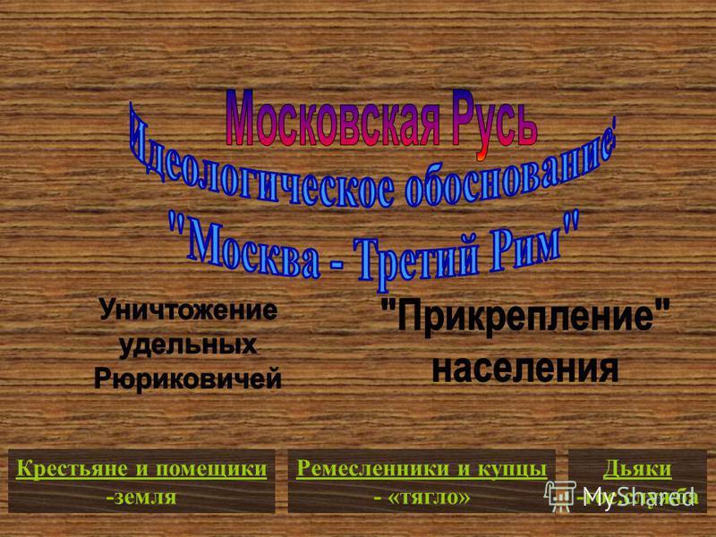 Крестьяне и помещики -земля Ремесленники и купцы - «тягло» Дьяки -гос.служба