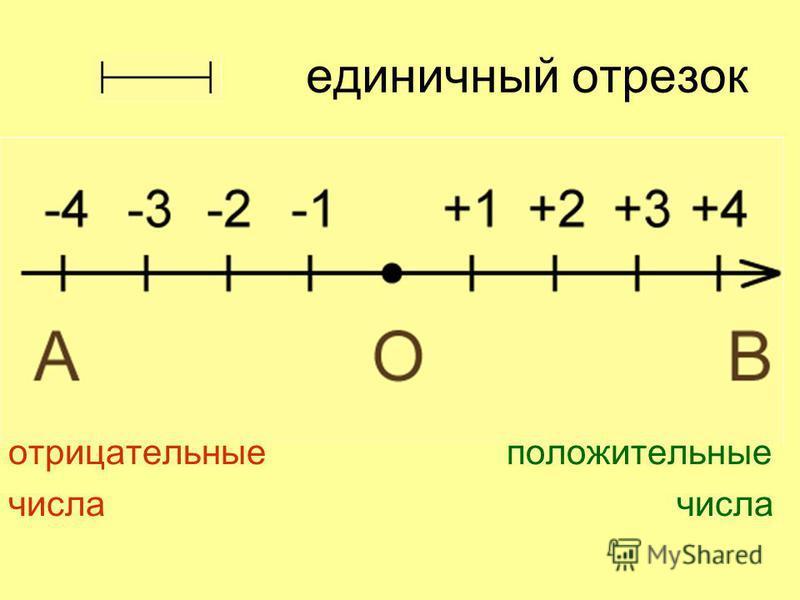 единичный отрезок отрицательные положительные числа