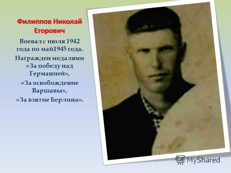 Филиппов Николай Егорович Воевал с июля 1942 года по май 1945 года. Награжден медалями «За победу над Германией», «За освобождение Варшавы», «За взятие Берлина».