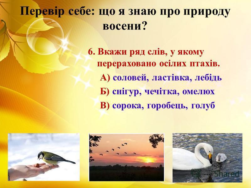Перевір себе: що я знаю про природу восени? 6. Вкажи ряд слів, у якому перераховано осілих птахів. А) соловей, ластівка, лебідь Б) снігур, чечітка, омелюх В) сорока, горобець, голуб
