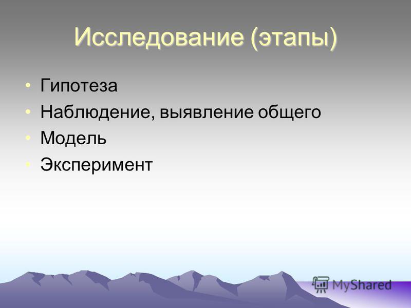 Исследование (этапы) Гипотеза Наблюдение, выявление общего Модель Эксперимент
