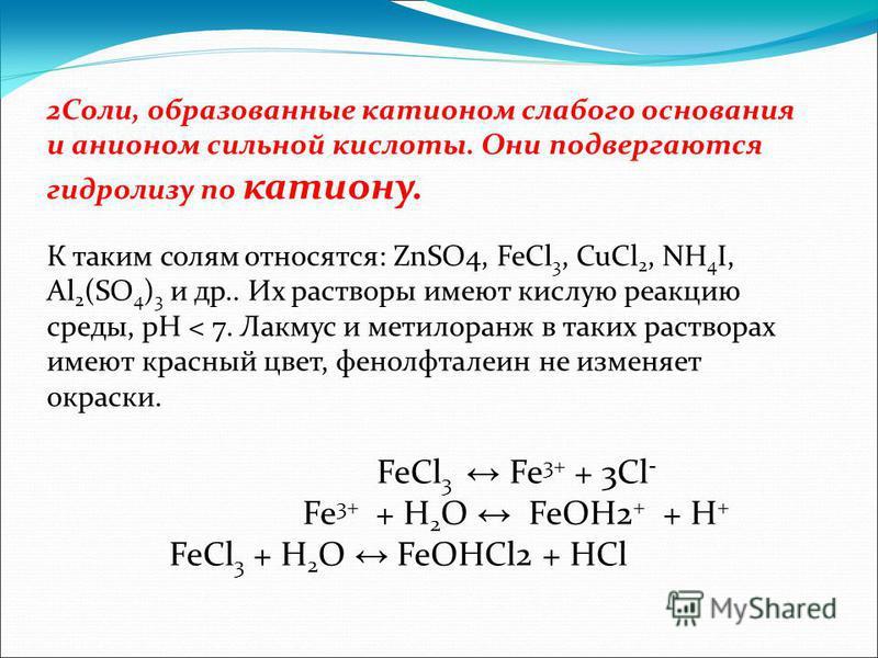 FeCl 3 Fe 3+ + 3Cl - Fe 3+ + H 2 O FeOH2 + + H + FeCl 3 + H 2 O FeOHCl2 + HCl 2Cоли, образованные катионом слабого основания и анионом сильной кислоты. Они подвергаются гидролизу по катиону. К таким солям относятся: ZnSO4, FeCl 3, CuCl 2, NH 4 I, Al