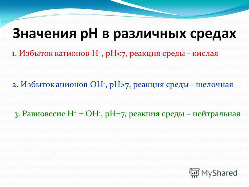 1. Избыток катионов H +, pH<7, реакция среды - кислая 2. Избыток анионов OH -, pH>7, реакция среды - щелочная 3. Равновесие H + = OH -, pH=7, реакция среды – нейтральная