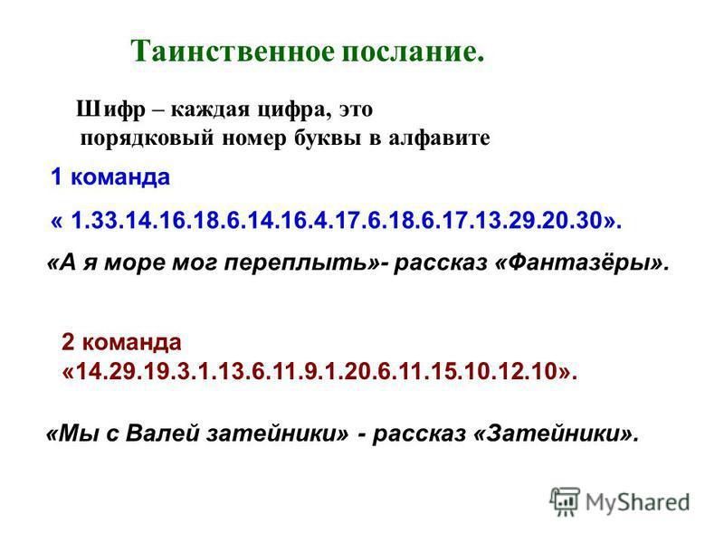 Шифр – каждая цифра, это порядковый номер буквы в алфавите Таинственное послание. 1 команда « 1.33.14.16.18.6.14.16.4.17.6.18.6.17.13.29.20.30». 2 команда «14.29.19.3.1.13.6.11.9.1.20.6.11.15.10.12.10». «А я море мог переплыть»- рассказ «Фантазёры».