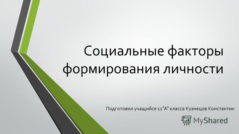 Социальные факторы формирования личности Подготовил учащийся 11A класса Кузнецов Константин