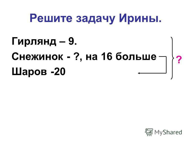 Решите задачу Ирины. Гирлянд – 9. Снежинок - ?, на 16 больше Шаров -20 ?