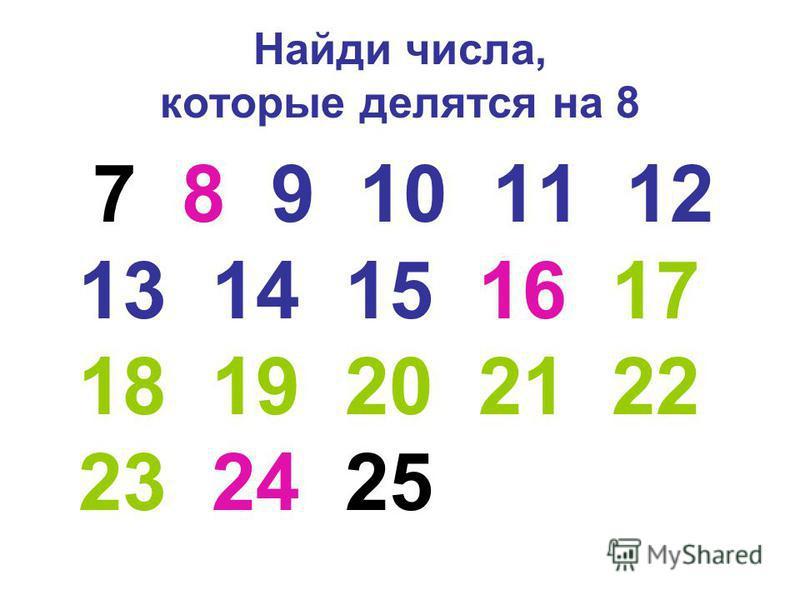Найди числа, которые делятся на 8 7 8 9 10 11 12 13 14 15 16 17 18 19 20 21 22 23 24 25