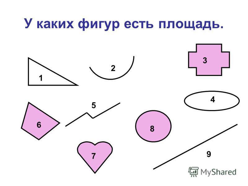 У каких фигур есть площадь. 1 6 5 2 7 8 3 4 9