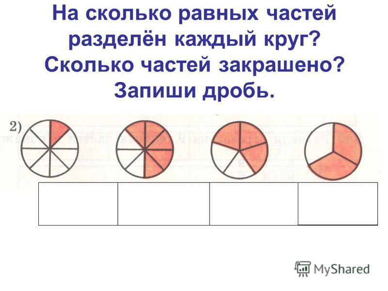 На сколько равных частей разделён каждый круг? Сколько частей закрашено? Запиши дробь. 1 8 5 8 3 5 2 3
