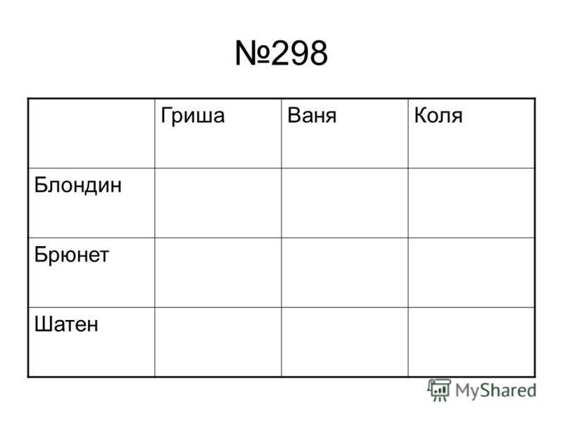 298 Гриша ВаняКоля Блондин Брюнет Шатен