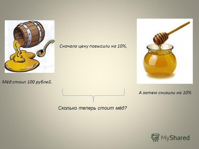 Мёд стоил 100 рублей. Сначала цену повысили на 10%, А затем снизили на 10% Сколько теперь стоит мёд?
