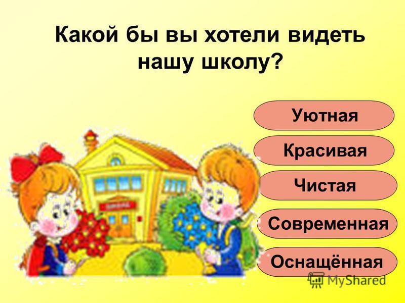 Какой бы вы хотели видеть нашу школу? Уютная Красивая Чистая Современная Оснащённая