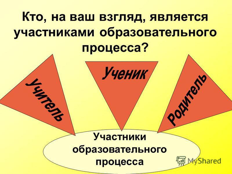 Кто, на ваш взгляд, является участниками образовательного процесса? Участники образовательного процесса