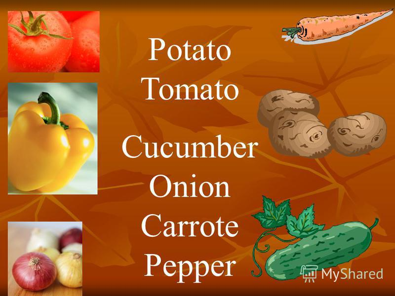 Potato Tomato Cucumber Onion Carrote Pepper