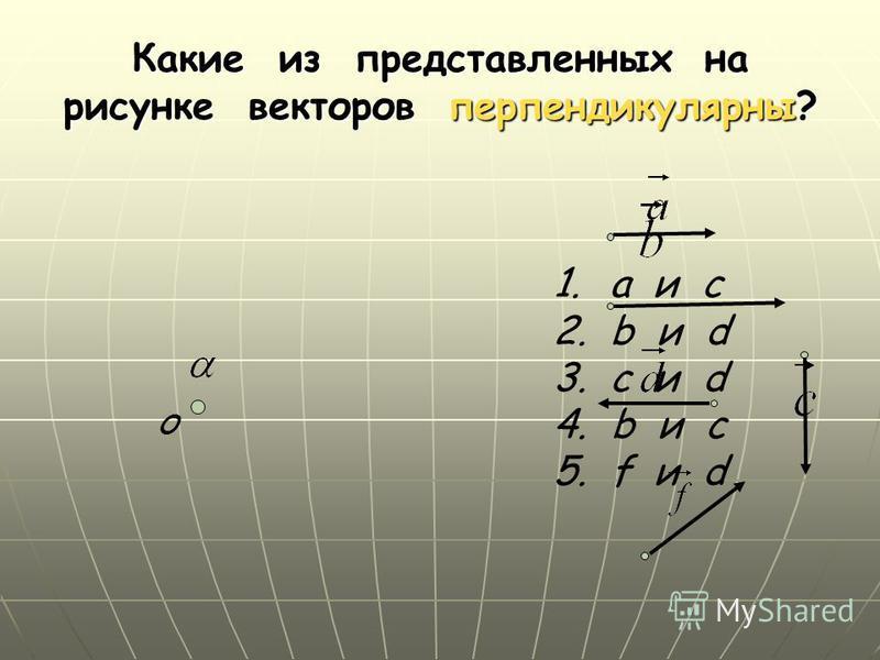 Какие из представленных на рисунке векторов перпендикулярны? О 1. а и c 2. b и d 3. с и d 4. b и с 5. f и d