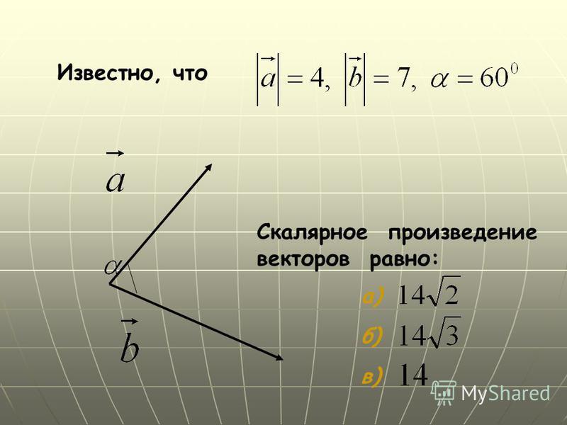 Известно, что Скалярное произведение векторов равно: а) б) в)