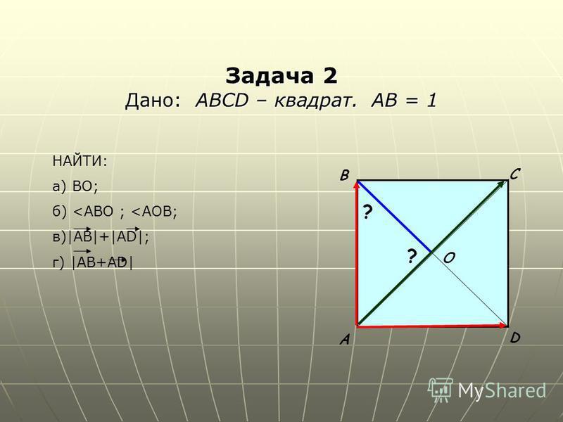 Задача 2 Дано: АВСD – квадрат. АВ = 1 А В С D O ? ? НАЙТИ: а) ВО; б) <ABO ; <AOB; в)|AB|+|AD|; г) |AB+AD|