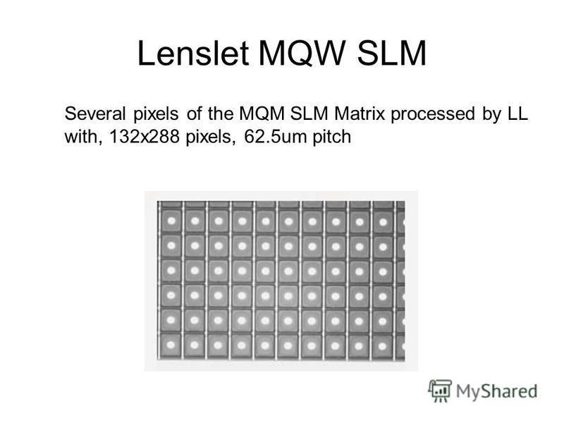 Lenslet MQW SLM Several pixels of the MQM SLM Matrix processed by LL with, 132x288 pixels, 62.5um pitch