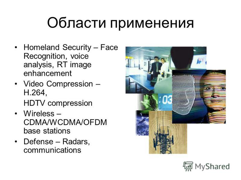 Области применения Homeland Security – Face Recognition, voice analysis, RT image enhancement Video Compression – H.264, HDTV compression Wireless – CDMA/WCDMA/OFDM base stations Defense – Radars, communications