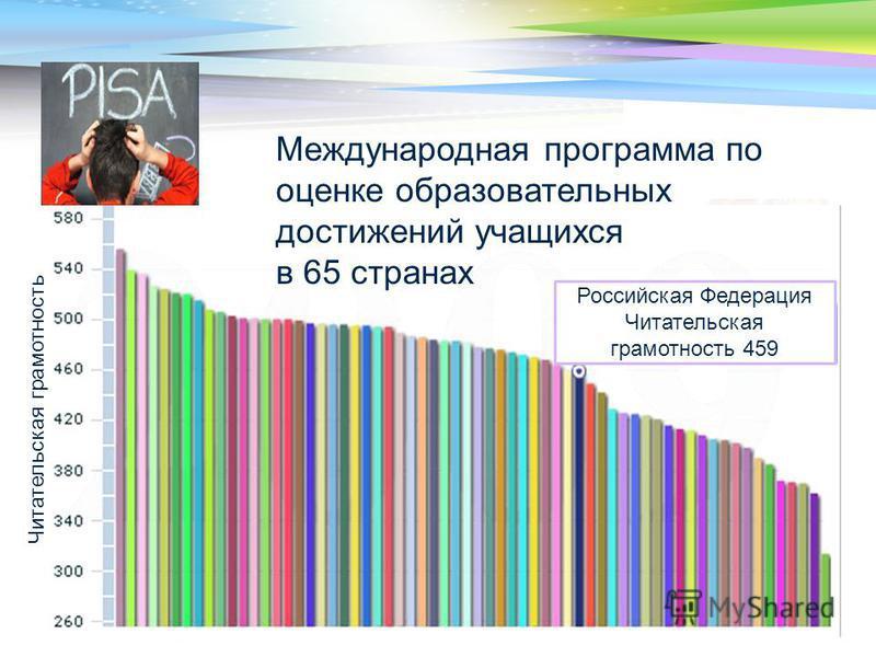 LOGO Российская Федерация Читательская грамотность 459 Читательская грамотность Международная программа по оценке образовательных достижений учащихся в 65 странах