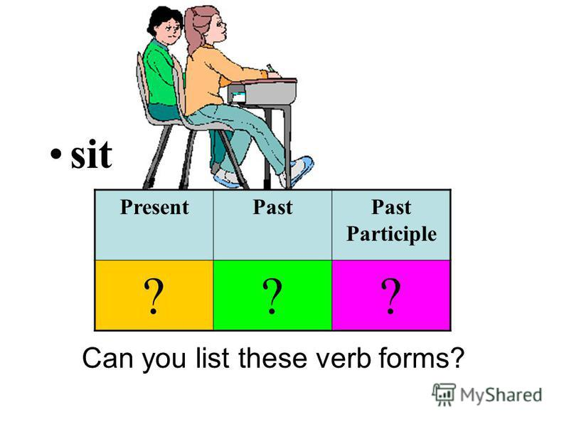 sit Can you list these verb forms? PresentPastPast Participle ???