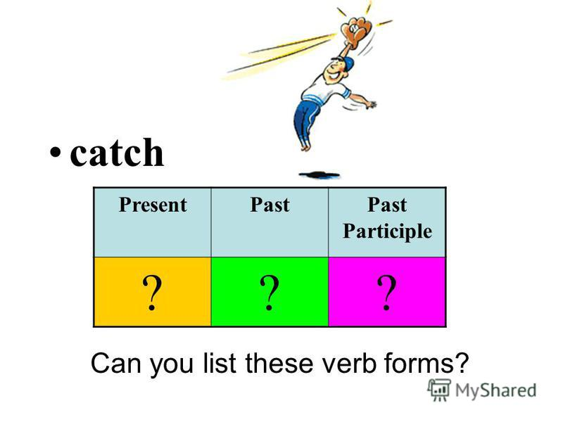 catch Can you list these verb forms? PresentPastPast Participle ???