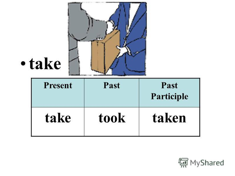 take PresentPastPast Participle taketooktaken