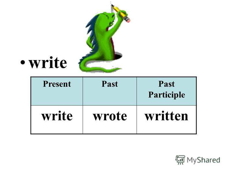 write PresentPastPast Participle writewrotewritten