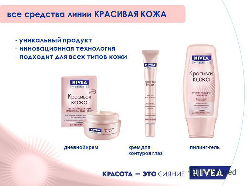 - уникальный продукт - инновационная технология - подходит для всех типов кожи все средства линии КРАСИВАЯ КОЖА дневной крем крем для контуров глаз пилинг-гель