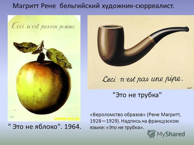 Это не яблоко. 1964. Магритт Рене бельгийский художник-сюрреалист. Это не трубка «Вероломство образов» (Рене Магритт, 19281929). Надпись на французском языке: «Это не трубка».