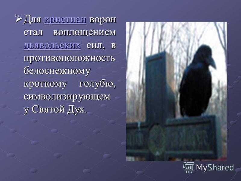 Для христиан ворон стал воплощением дьявольских сил, в противоположность белоснежному кроткому голубю, символизирующем у Святой Дух. Для христиан ворон стал воплощением дьявольских сил, в противоположность белоснежному кроткому голубю, символизирующе