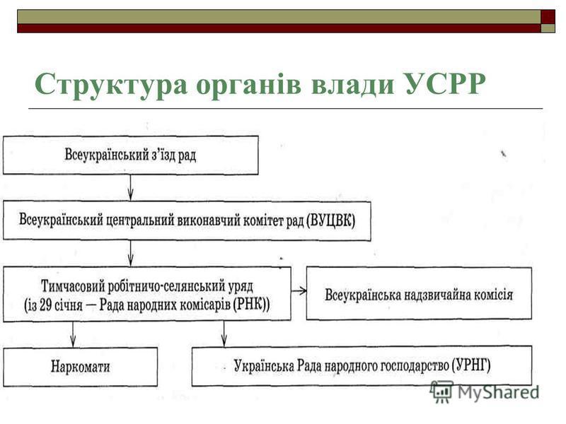 Структура органів влади УСРР