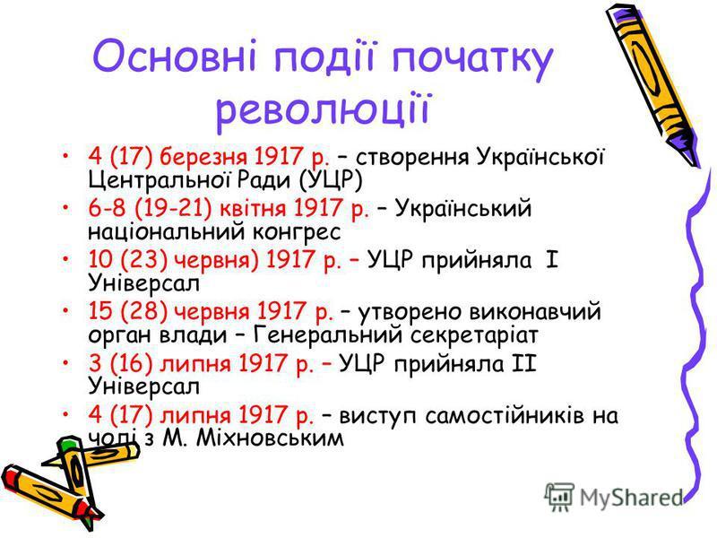 Основні події початку революції 4 (17) березня 1917 р. – створення Української Центральної Ради (УЦР) 6-8 (19-21) квітня 1917 р. – Український національний конгрес 10 (23) червня) 1917 р. – УЦР прийняла І Універсал 15 (28) червня 1917 р. – утворено в