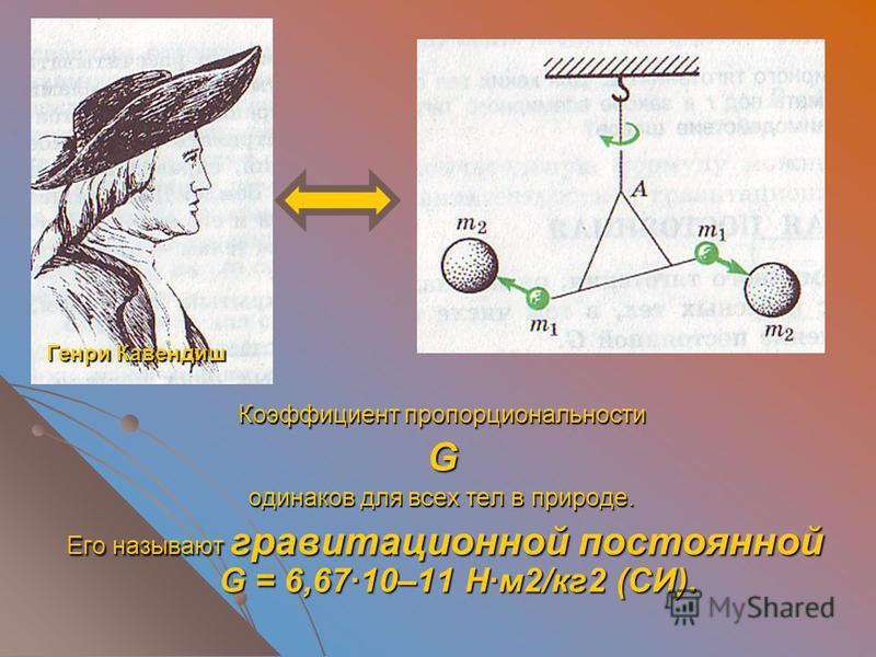 Коэффициент пропорциональности G одинаков для всех тел в природе. Его называют гравитационной постоянной G = 6,67·10–11 Н·м 2/кг 2 (СИ). Его называют гравитационной постоянной G = 6,67·10–11 Н·м 2/кг 2 (СИ). Генри Кавендиш