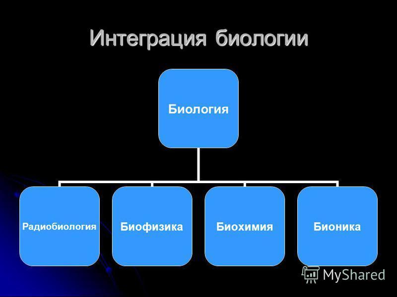 Интеграция биологии Биология Радиобиология БиофизикаБиохимия Бионика