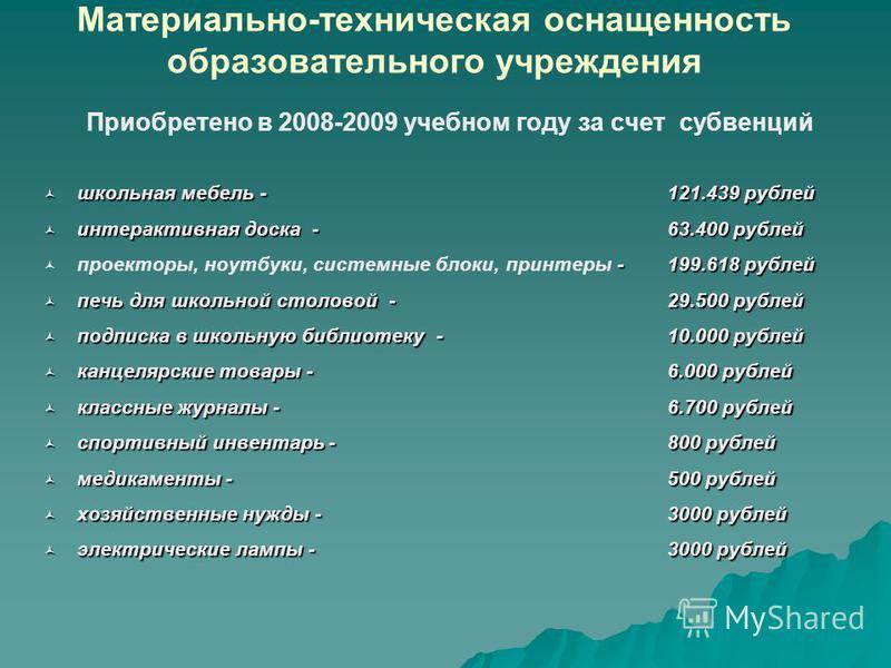 Материально-техническая оснащенность образовательного учреждения Приобретено в 2008-2009 учебном году за счет субвенций школьная мебель - 121.439 рублей школьная мебель - 121.439 рублей интерактивная доска -63.400 рублей интерактивная доска -63.400 р