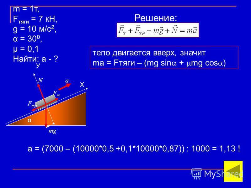α Х У mg N FтFт F тр a тело двигается вверх, значит ma = Fтяги – (mg sin + mg cos ) а = (7000 – (10000*0,5 +0,1*10000*0,87)) : 1000 = 1,13 ! m = 1 т, F тяги = 7 кН, g = 10 м/с 2, α = 30 0, μ = 0,1 Найти: а - ? Решение: