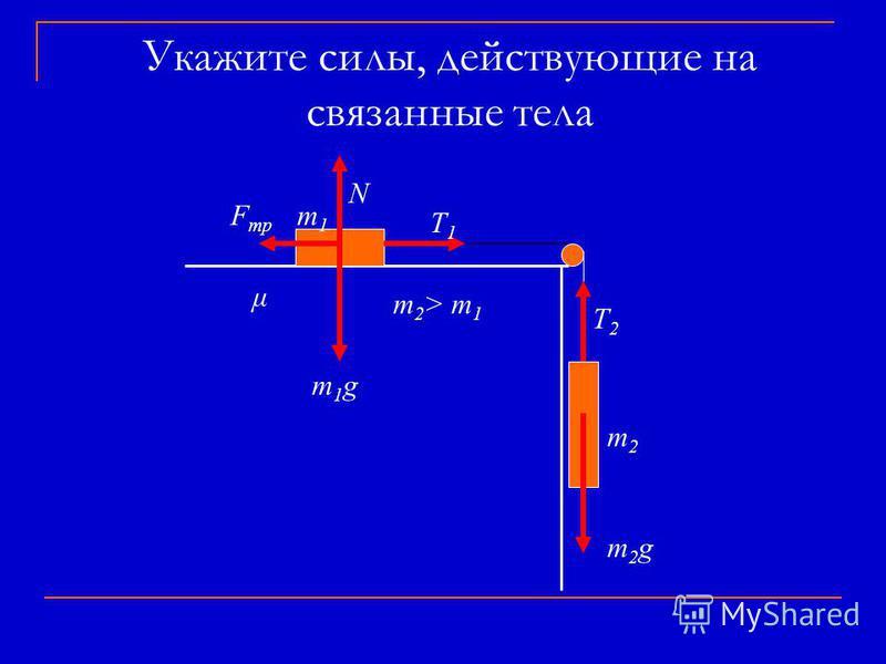 Укажите силы, действующие на связанные тела m 2 > m 1 μ m2m2 m1m1 m2gm2g T2T2 N T1T1 F тр m1gm1g