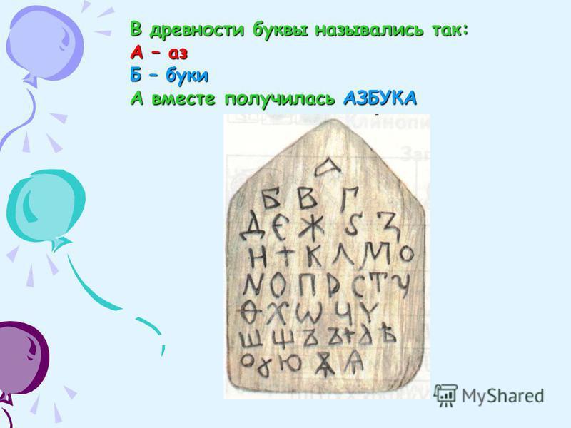 В древности буквы назывались так: А – аз Б – буки А вместе получилась АЗБУКА
