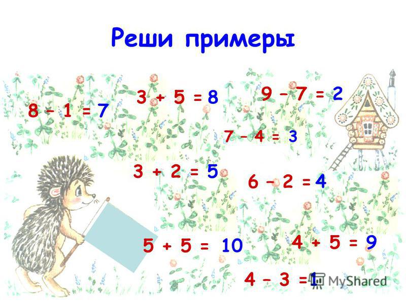 Реши примеры 3 + 2 = 7 – 4 = 6 – 2 = 8 – 1 = 4 + 5 = 5 + 5 = 3 + 5 = 4 – 3 = 9 – 7 = 7 8 5 10 1 9 4 3 2
