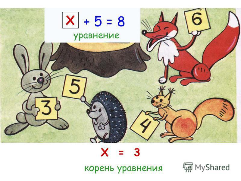 Х = 3 + 5 = 8 уравнение корень уравнения Х