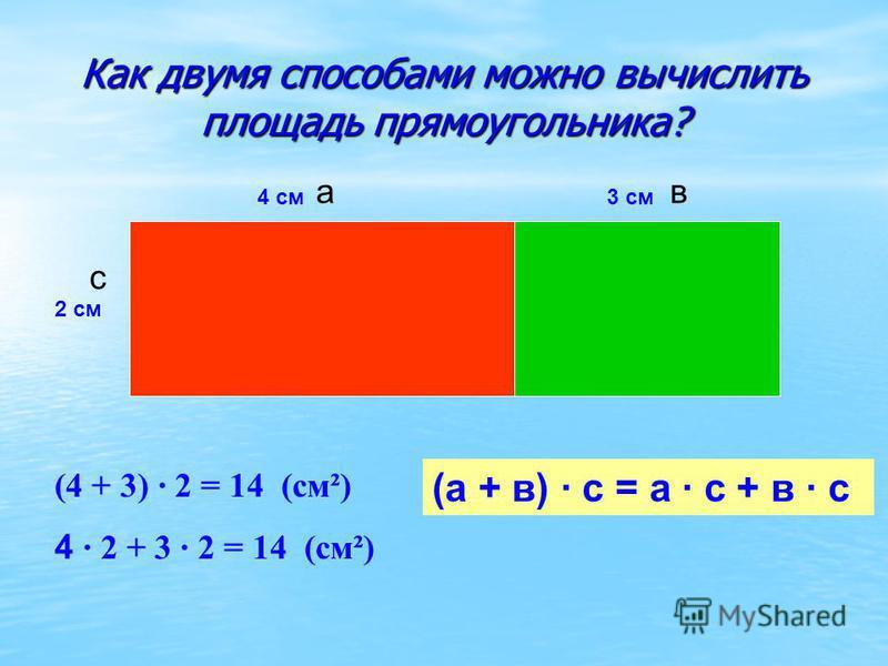Как двумя способами можно вычислить площадь прямоугольника? 2 см 4 см 3 см (4 + 3) · 2 = 14 (см²) 4 · 2 + 3 · 2 = 14 (см²) (а + в) · с = а · с + в · с ав с