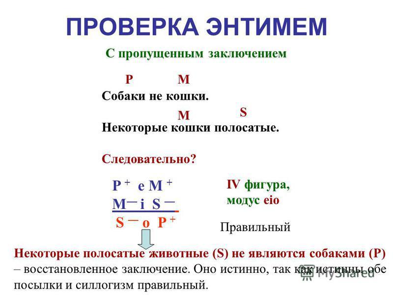 ПРОВЕРКА ЭНТИМЕМ С пропущенным заключением S (P) MP (S) М i P S + е M + ? Некоторые кошки полосатые. Собаки не кошки. Следовательно? P + е M + М i S ? M М i P S + е M + S o P + P + е M + М i S S o P + М i P S + е M + S P P + е M + М i S S P I фигура,