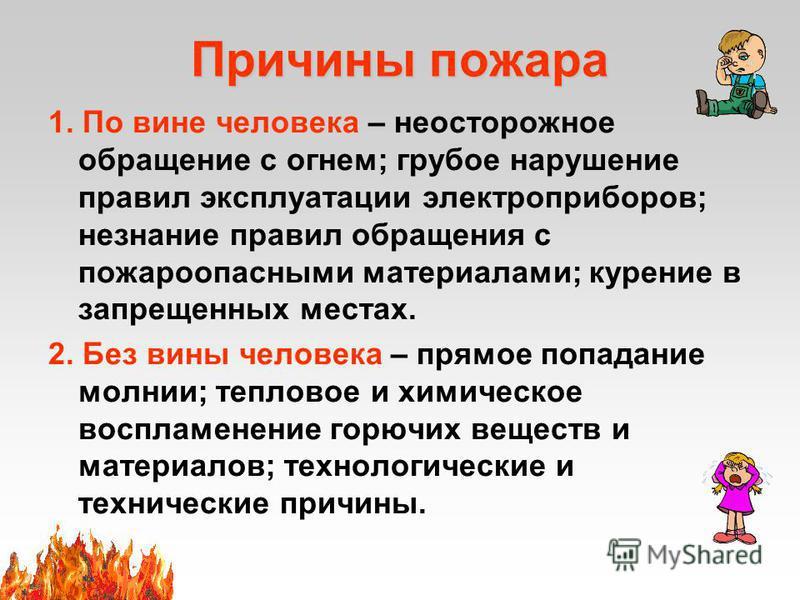 Причины пожара 1. По вине человека – неосторожное обращение с огнем; грубое нарушение правил эксплуатации электроприборов; незнание правил обращения с пожароопасными материалами; курение в запрещенных местах. 2. Без вины человека – прямое попадание м