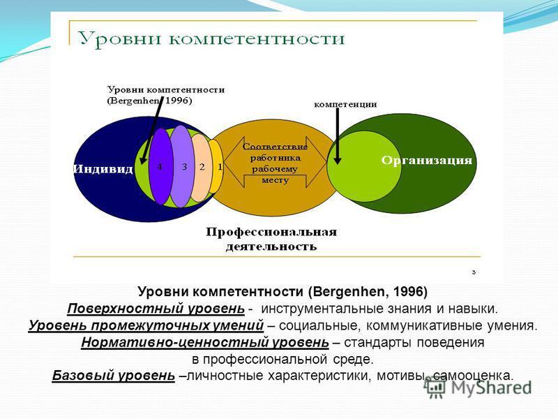 Уровни компетентности (Bergenhen, 1996) Поверхностный уровень - инструментальные знания и навыки. Уровень промежуточных умений – социальные, коммуникативные умения. Нормативно-ценностный уровень – стандарты поведения в профессиональной среде. Базовый